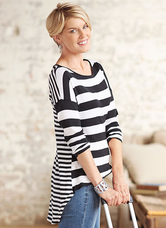 Main Striped Hi-Low Sweater