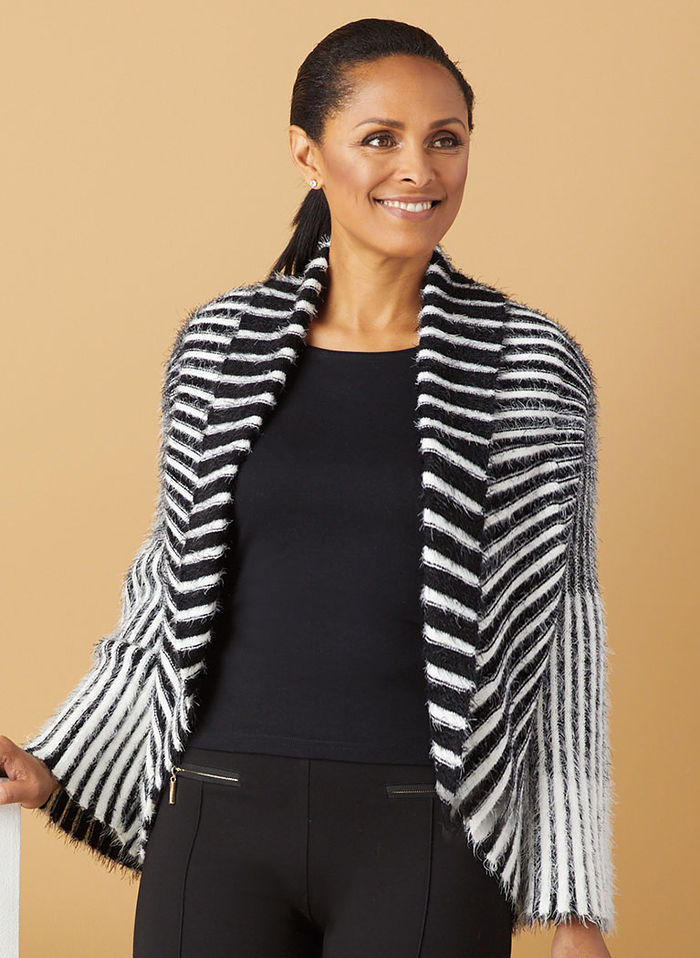Striped Eyelash Cardigan