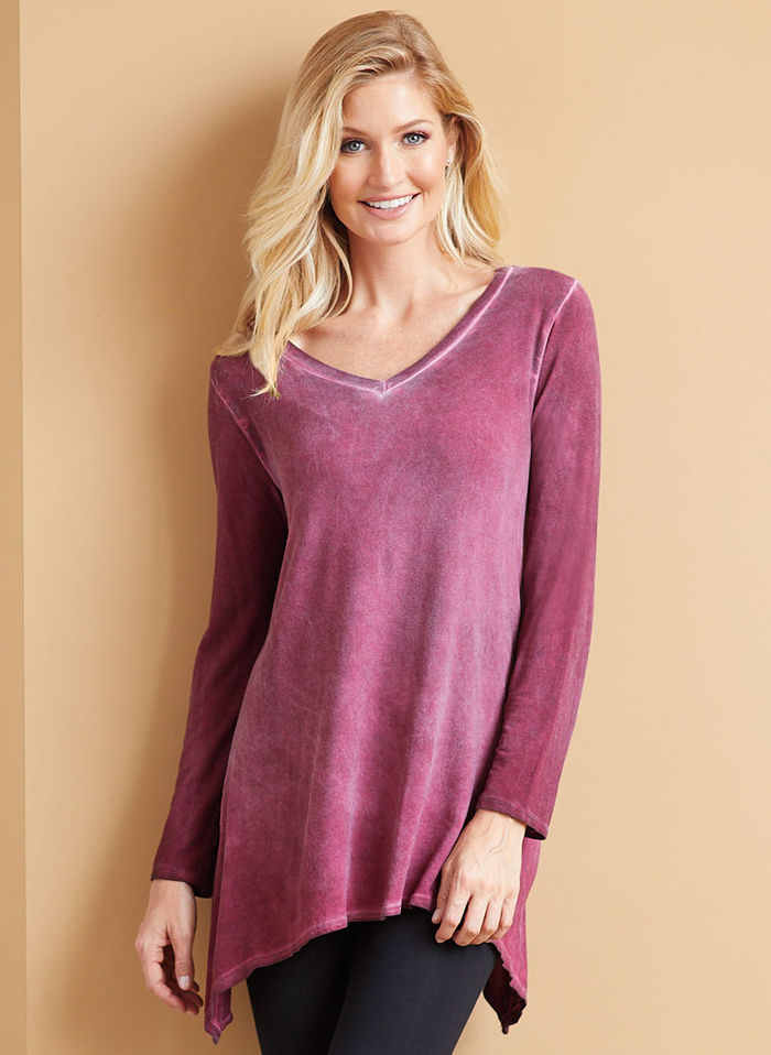 V-Neck Tunic with Scarf