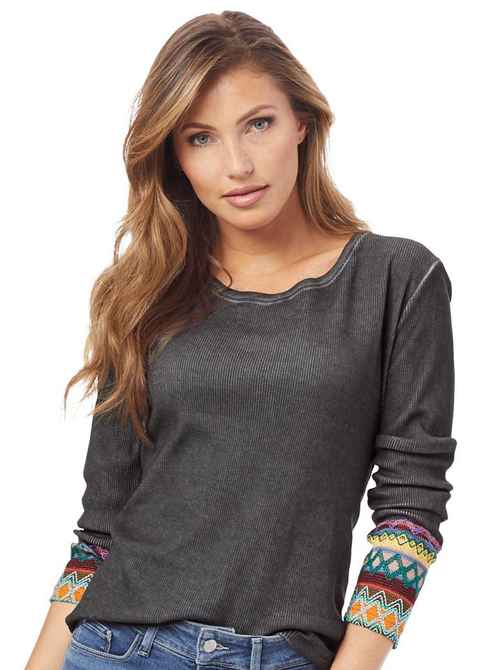 Embroidered Cuff Top