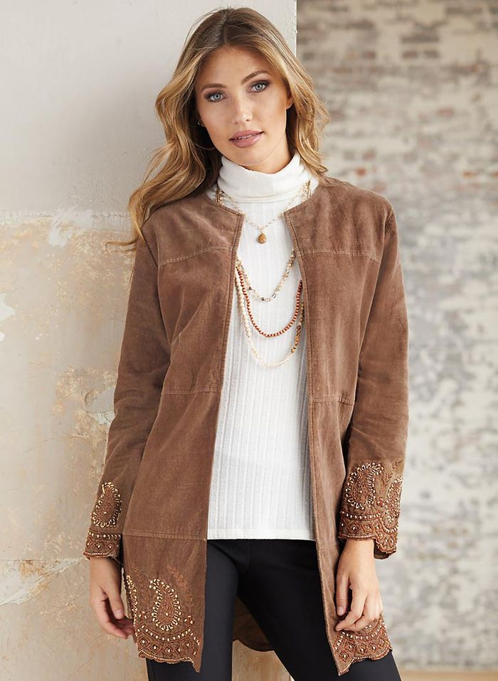 Beaded Faux Suede Jacket