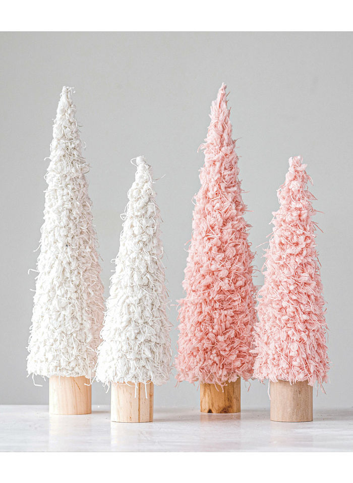 Cream and Pink Fabric Cone Tree