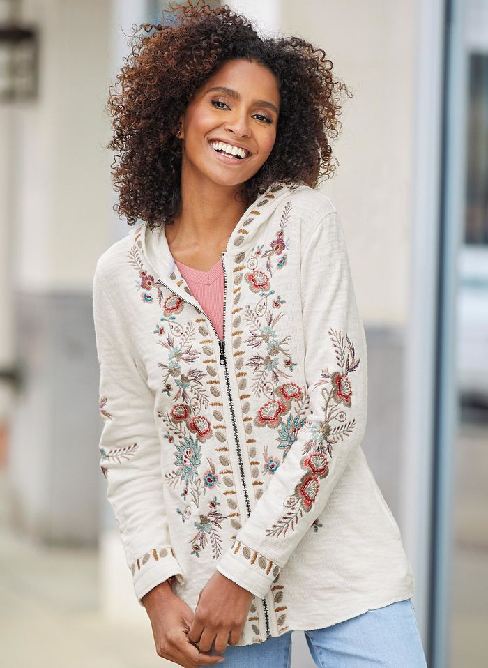 Zip-Front Embroidered Sweater